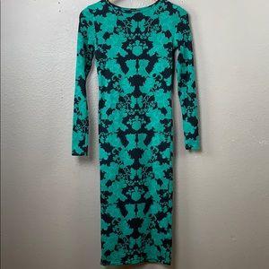 Topshop emerald floral print long sleeve dress